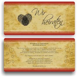 HO-014 Einladungskarte - Fingerabdrücke