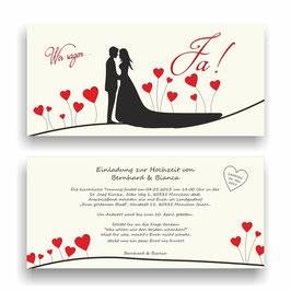 HO-005 Einladungskarte - Wir sagen Ja (Brautpaar)