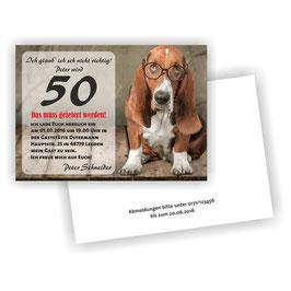 EI-026 Einladungskarte -  Hund mit Brille