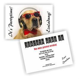 EI-025 Einladungskarte -  Hund mit Kopfhörer