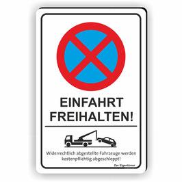 PV-010 Parkverbotschild Einfahrt freihalten! (Hochformat)