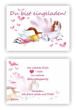 Einladungskarten Kindergeburtstag Fee l Elfe Kinder Geburtstag Einladung Mädchen