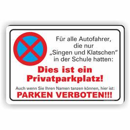 PV-015 Parkverbotschild Singen und Klatschen Privatparkplatz