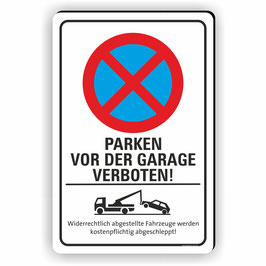 PV-029 Parkverbotschild Parken vor der Garage verboten