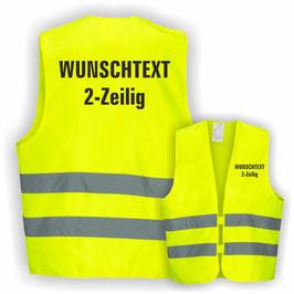 Warnweste GELB DIN EN 471 WUNSCHTEXT 2-Zeilig