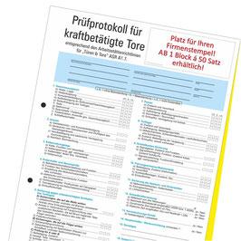 Prüfprotokoll für kraftbetätigte Türen & Tore nach ASR A1.7