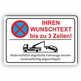 PV-027 Parkverbotschild Text nach Wunsch 3 Zeilen