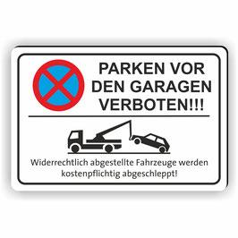 PV-024 Parkverbotschild Parken vor den Garagen mit Abschleppwagen