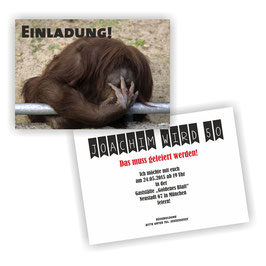 EI-012 Einladungskarte -  Affe