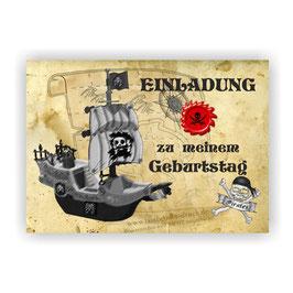 Einladungskarten Kindergeburtstag Pirat l Junge Kinder Geburtstag Einladung
