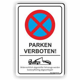 PV-012 Parkverbotschild Parken verboten! (Hochformat)