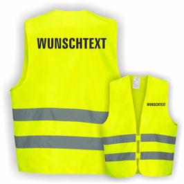 Warnweste GELB DIN EN 471 WUNSCHTEXT 1-Zeilig