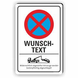 PV-031 Parkverbotschild Text nach Wunsch 3 Zeilen