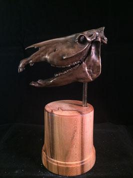 Cold Cast Hand Finished 1/6 Bronze Horse Skull.
