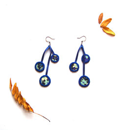 Boucles d'oreille bleu pendantes