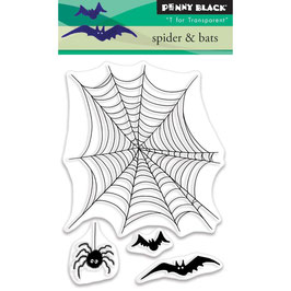 "Clearstampset ""Spider & Bats"" - Penny Black"