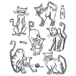 "Clingstamps ""Crazy Cats"" - Stampers Anonymous (Tim Holtz)"