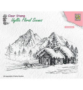 """Clearstamps """"Snowy Landscape with Cottage"""" - Nellies Choice"""