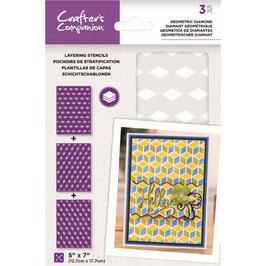 Geometric Diamond Layering Kaleidoscope, Schablone - Crafter's Companion