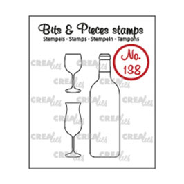 "Clearstamp Bits&Pieces ""Wine Bottle & Glasses"" - Crealies"