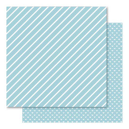 Hearts & Stripes Foiled Cardstock, Blue Daze - Bella