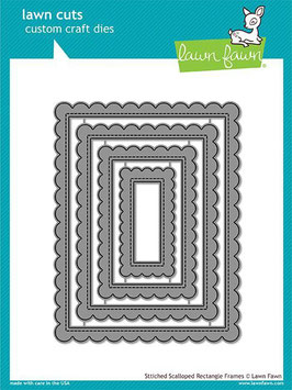 Stitched Scalloped Rectangle Frames Dies - Lawn Fawn