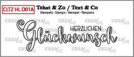 """Clearstamp """"Handlettering - Herzlichen Glückwunsch (outline) - Crealies"""