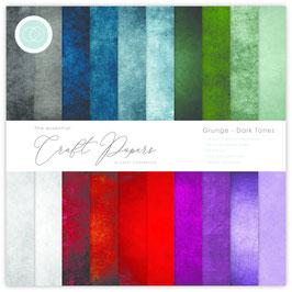 Grunge Dark Tones 12x12 Paper Pad - Craft Consortium