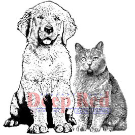 Furry Friends - Deep Red Cling Stamp