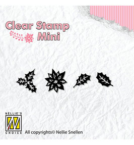 "Mini Clearstamps ""Christmas Holly Leaves"" - Nellie's Choice"