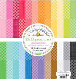 Gingham-Linen Rainbow Petite Print Paper Pack 12x12 - Doodlebug