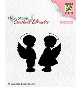 """Clearstamp """"Christmas Silhouette - Angel Girl and Boy"""" - Nellies Choice"""
