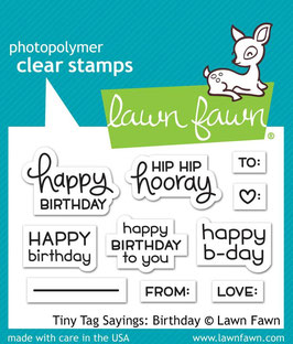 "Clearstamp ""Tiny Tag Sayings: Birthday"" - Lawn Fawn"
