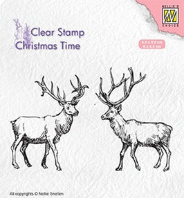 """Clearstamp """"Christmas Time, Two Reindeer"""" - Nellies Choice"""