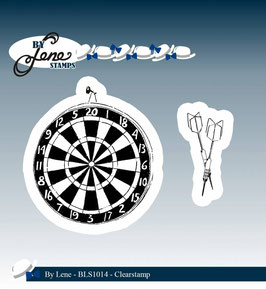 "Clearstamps ""Dartboard & Arrow"" - By Lene"