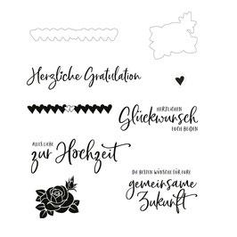 "Stanzen- und Stempelset ""Gratulations"" - Mundart Stempel"