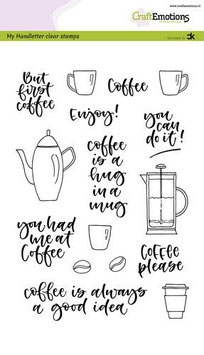 """Clearstamp """"Handletter - Coffee Please"""" - CraftEmotions"""