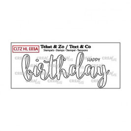 "Clearstampset ""Handlettering Happy Birthday (outline)"" - Crealies"