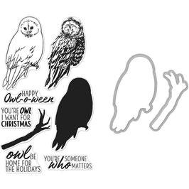 """Stamp & Die Color Layering Bundle """"Owl"""" - Hero Arts"""