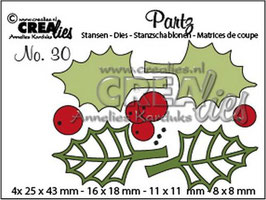 "Partz #30 ""Holly leaves & Berries"" - Crealies"