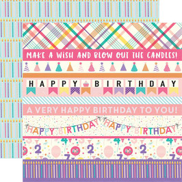 Happy Birthday Girl, Border Strips - Echo Park Paper