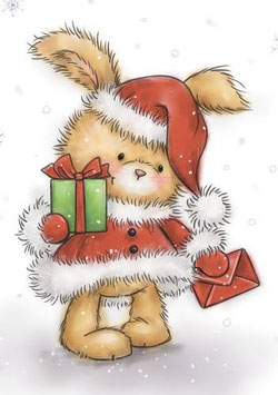 "Clearstamp ""Christmas Bunny"" - Wild Rose Studios"