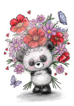 "Clearstamp ""Panda With Flowers"" - Wild Rose Studio's"