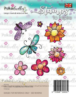 "Clearstamp ""Flowers/Butterflies"" - Polkadoodles"