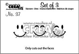 """Set of 3 No. 37 """"Faces"""" - Crealies"""