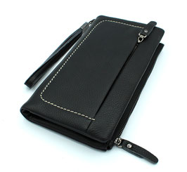 Leather Soft Wallet Travel Wallet Daniela Moda Black