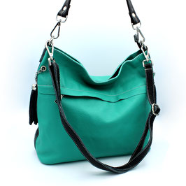 Leather Bag Roma Daniela Moda Turquoise