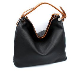 Leather shoulder bag Made in Italy Black