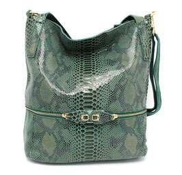 Leather Bag in Real Cow leather Python Pattern Daniela Moda Green