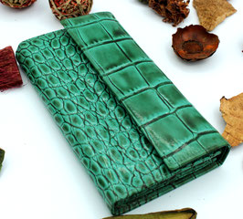 Women's Leather wallet Elegant Coral Green